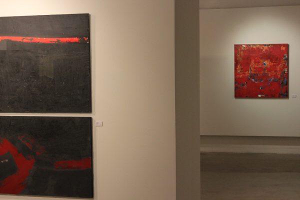art gallery large black red art paintings