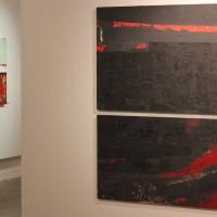 art gallery large red modern paintings