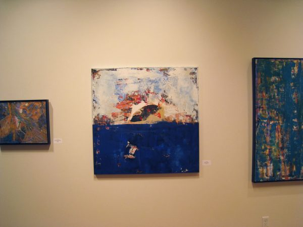 stringer blue abstract painting at exhibition gallery