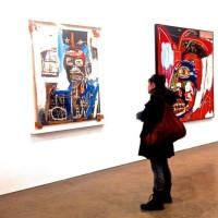 woman looking basquiat art gagosian