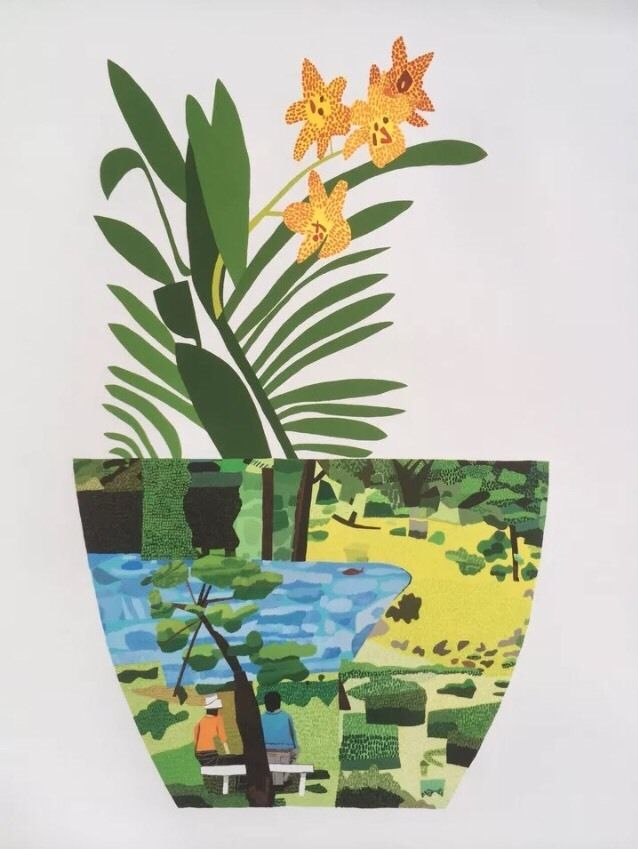 Jonas Wood Landscape Pot Yellow Orchid Print