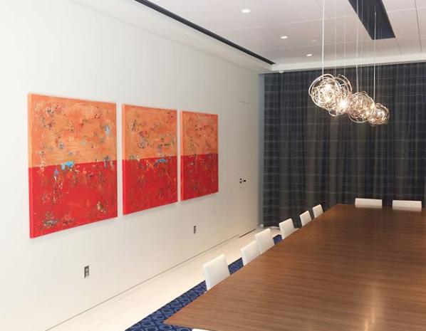 Modern Art Triptych Orange Emerson Shakopee