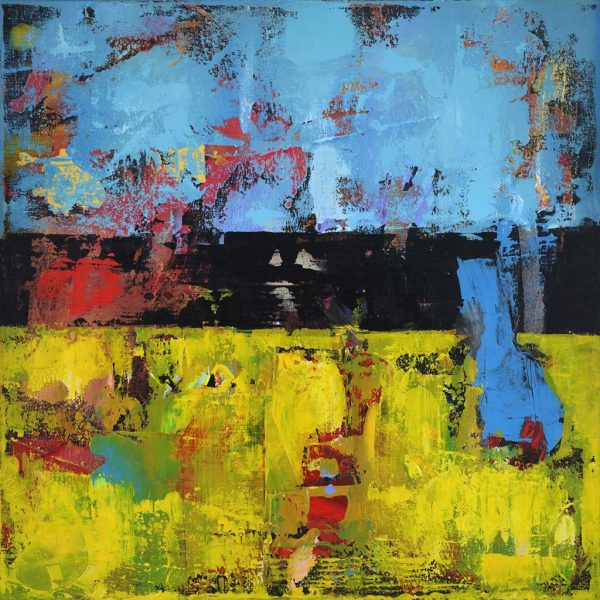 Hay 1 Yellow Blue Modern Painting