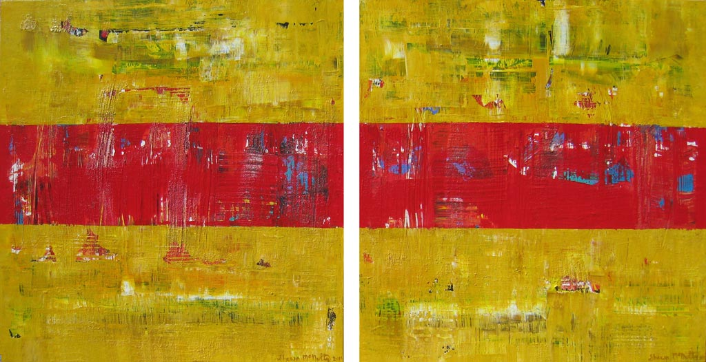 Applewood Winery New York Yellow Red Abstract