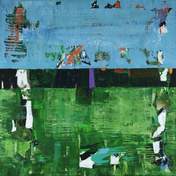 Aviary Birds Green Blue Abstract Art