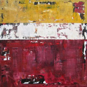 Revelry Maroon Yellow Modern Art