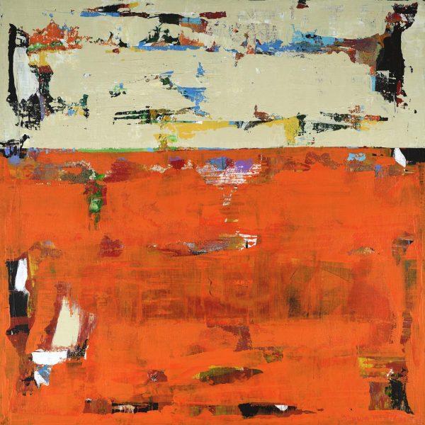 Roadrunner Orange Beige Modern Landscape Painting