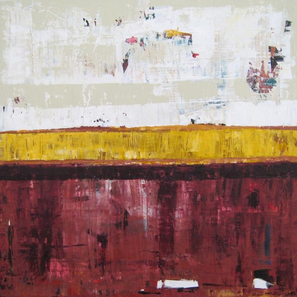 Timber Maroon Gold Abstract Painting