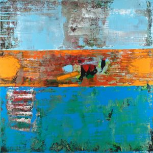 Alligator Orange Blue Abstract Painting