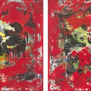American Bison Herds Abstract Red Painting