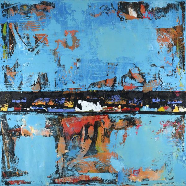 Black Stallion Blue Orange Abstract Painting
