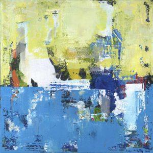 Blue Parakeet Bird Yellow Abstract Painting