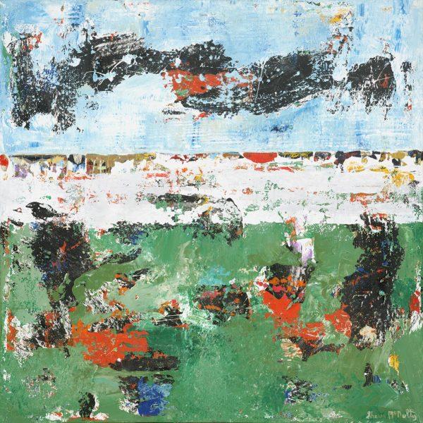 Bluegrass Green Sky Horizontal Band Abstract Art