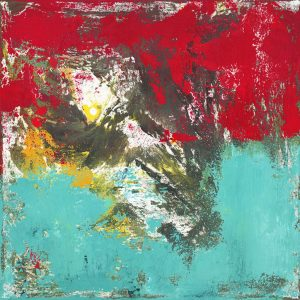 Labrador Retriever Dog Teal Red Abstract Painting