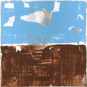Compartment Minimal Abstract Painting Brown Blue