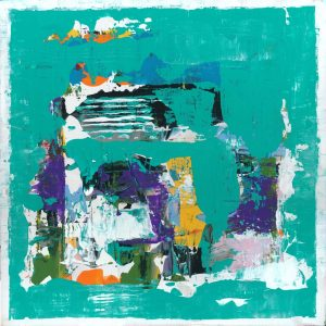 Squeel Teal Mid Centrury Mod Abstract Art