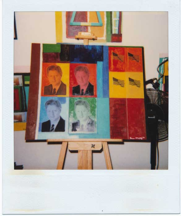 Four Clintons Pop Art Painting Polaroid
